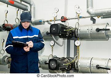 ingegnere, riscaldamento, sala caldaie