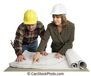 ingegnere, spiegando, il, lavoro