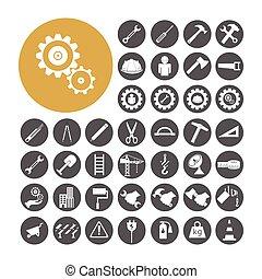 ingegnere, vettore, set, illustration., icona