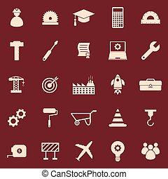 ingegneria, colorare, icone, su, sfondo rosso
