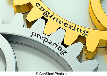 ingegneria, concetto, preparare, gearwheels