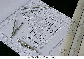 ingegneria, disegno, e, disegno