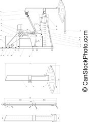 ingegneria, pompaggio, unità, disegno
