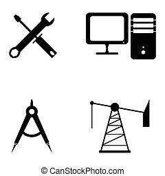 ingegneria, set, icona