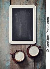 ingelijst, bord, en, koffie
