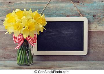 ingelijst, bord, met, daffodils