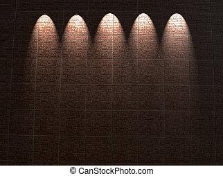 ingelijst, rode baksteen muur, verlichting, bouwsector, details