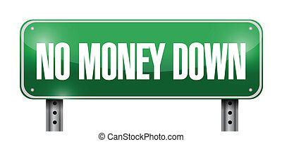 ingen pengar, illustration, underteckna, nedåt, design, väg
