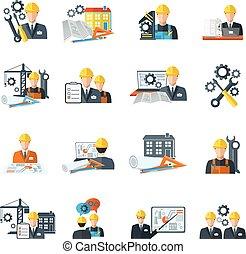 ingeniør, ikon, lejlighed