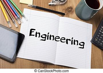 ingeniería, -, almohadilla nota, con, texto