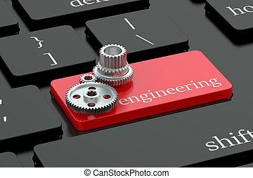 ingeniería, concepto, en, teclado, botón
