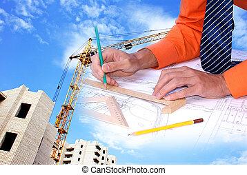ingeniería, construcción, diseñar
