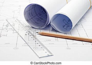 ingeniería, diseño, y, dibujo