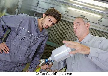 ingeniería, el suyo, profesor, aprendiz, mecánico