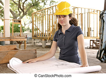 ingeniería, estudiante, con, planos