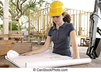 ingeniería, estudiante, lee, planos
