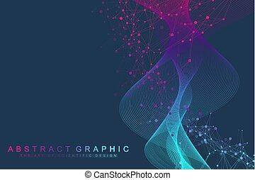 ingeniería, gene, genético, hebra, resumen, vector, plano de fondo, ilustración, átomo, médico, estructura, ciencia, molécula, manipulación, neurons., concept., hélice, científico, o, adn