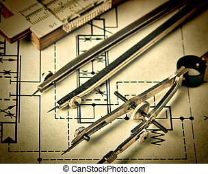 ingeniería, herramientas, en, dibujo técnico
