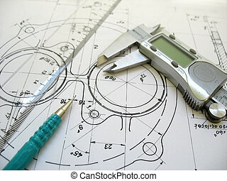 ingeniería, herramientas, en, técnico, drawing., digital, calibrador, regla, y, mecánico, pencil.