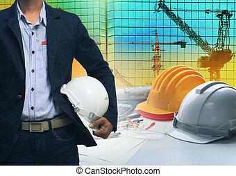 ingeniería, hombre estar de pie, con, blanco, casco de seguridad, contra, buildi