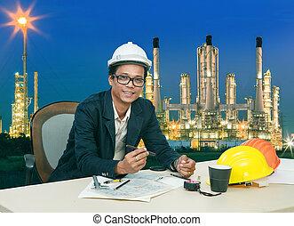 ingeniería, hombre, trabajo encendido, tabla, ag