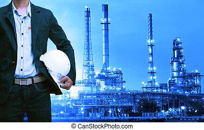 ingeniería, hombre, y, casco de seguridad, posición, contra,...