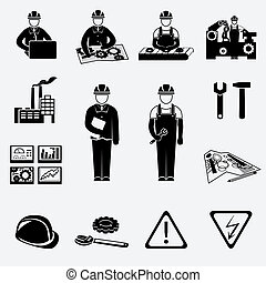 ingeniería, iconos, conjunto