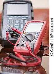 ingeniería, medida, conectado, unidades, probes, rojo, dos