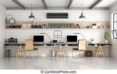 ingeniería, oficina, o, estilo, industrial, arquitectura