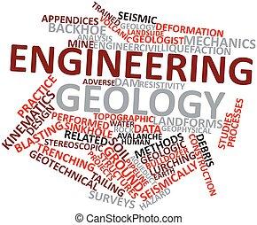 ingeniería, palabra, nube, geología