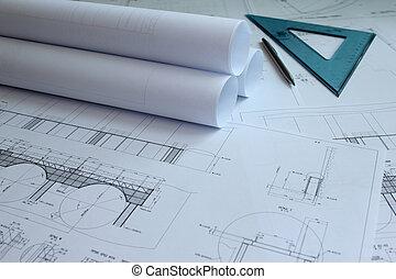ingeniería, planos, mecánico