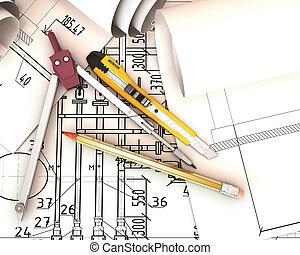 ingeniería, tools., rollosde papel, dibujos