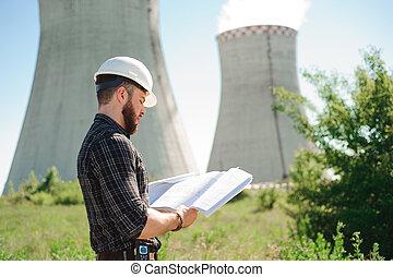 ingeniería, trabajo, en, el, central eléctrica, cheque, el, información, en, paper.