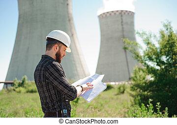 ingeniería, trabajo, en, el, central eléctrica, cheque, el, información