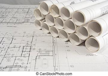 ingeniería, y, dibujos arquitectónicos