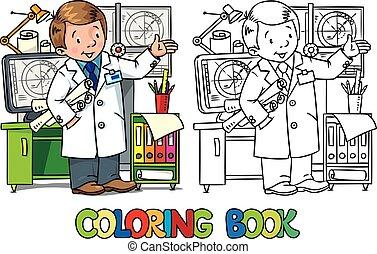 ingeniero, book., abc, profesión, colorido, serie