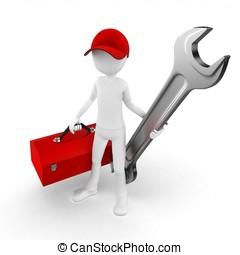 ingeniero, caja de herramientas, hombre, llave inglesa, 3d