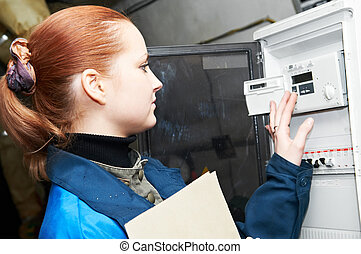 ingeniero, calefacción, sala de calderas