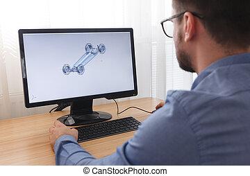 ingeniero, constructor, diseñador, en, anteojos, trabajo...