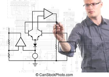ingeniero eléctrico, dibujo, esquema circuito, en, el, whiteboard
