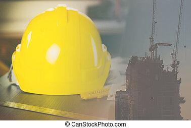 ingeniero, industria, exposición doble, constuction, sitio, con, ingeniero, casco