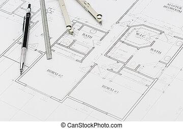 ingeniero, lápiz, regla, y, compás, reclinación encendido, casa, planes