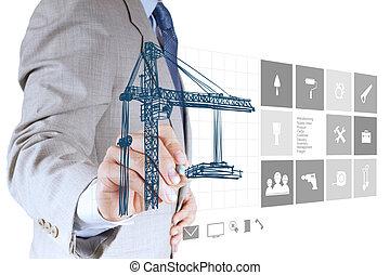 ingeniero, mano, trabajando, con, computadora nueva, interfaz, exposición, edificio, desarrollo, concepto