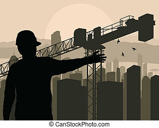 ingeniero, mirar, edificio, proceso, en, ciudad, vector