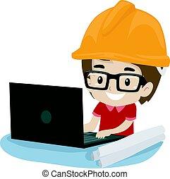 ingeniero, niño, computador portatil, niño, utilizar