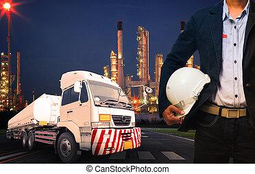 ingeniero, tenencia, sombrero duro, posición, contra,...