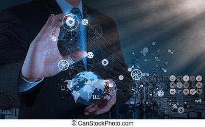 ingeniero, trabaja, industria, diagrama, en, virtual,...