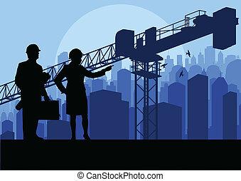 ingeniero, y, interpretación el sitio, director, mirar, rascacielos, edificio, proceso, en, industrial, grúa, ilustración, plano de fondo, vector