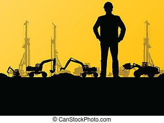 ingenieros, con, excavador, cargadores, y, tractores, cavar,...