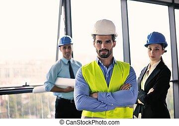 ingenieros, reunión, empresarios